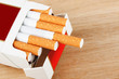 Cigarettes in pack on the breadboard