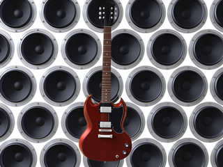 3d render of red guitar floating in front of loud speakers