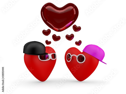 Hearts. Couple teens in love: boy and girl. 3D illustration