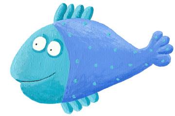 Funny blue fish