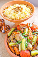 "Moroccan ""seven vegetables"" tagine with couscous"
