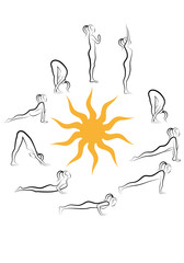 yoga sun salutation vector set