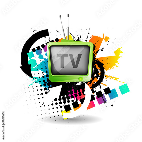 Cute retro tv vector