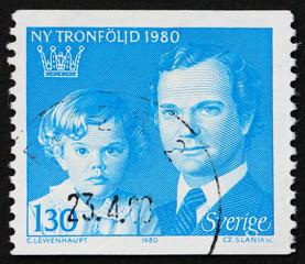 Postage stamp Sweden 1980 King Carl XVI Gustaf and Crown Princes