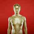 Portrait of beautyful man with golden bodyart