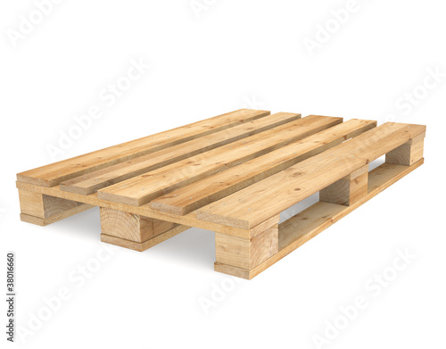 Pallet. A CEN/EURO pallet on white Backgound.