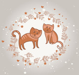 greeting card with cats in love - vector illustration