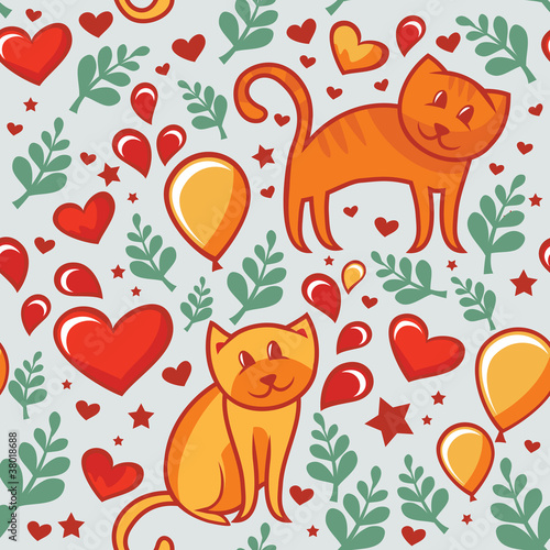 seamless cartoon pattern with cats