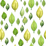 seamless watercolor background with leaves
