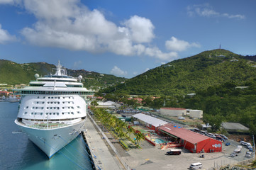 Cruise Ship at Port of St. Thomas, US Virgin Islands