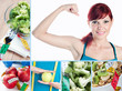 Fitness and healthy eating collage