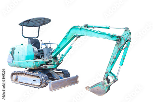 Mini Backhoe isolated on white