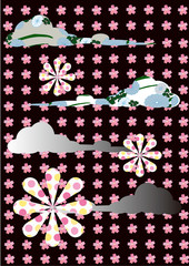 polka-dotted chrysanth,cherry blossom,cloud, Abstract symbol.