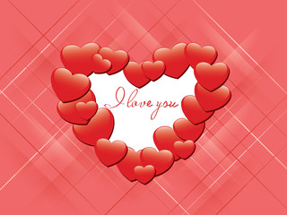 vector red romantic card - I love you