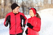 Couple running in winter