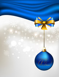 glimmered Christmas background with blue evening ball poster