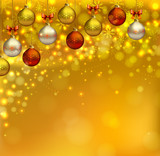 bright glimmered Christmas background with shine evening balls poster