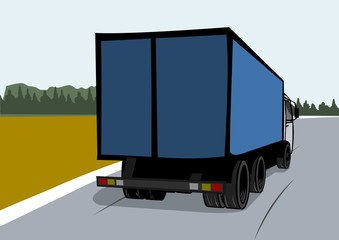 Cartoon cargo truck on the road. Back view