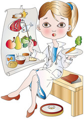 dietologa sfondo bianco