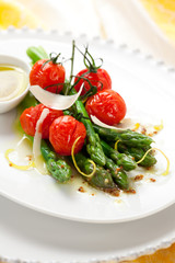 green asparagus with roasted tomatoes