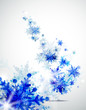 Christmas background with abstract winter blue snowflakes