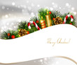 Christmas background with branch of fir tree