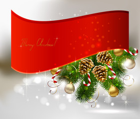 Christmas background with branch of fir tree with cones