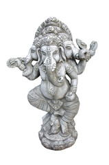Ganesha carved in granite on white background.