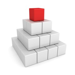 Leadership concept with white cubes pyramid red leader