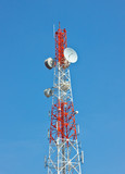 Telecommunication tower with several antenna.
