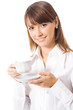 Business woman drinking coffee, isolated