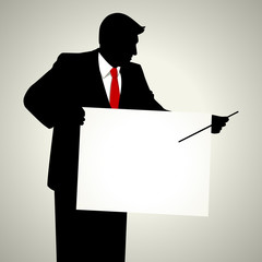 Silhouette illustration of a male figure with presentation board