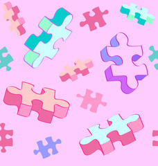 Seamless tumbling puzzle autism pattern