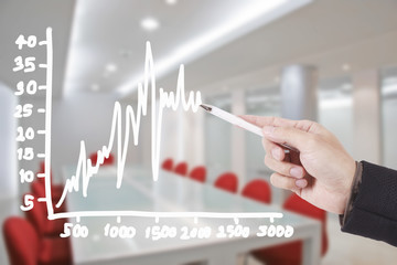 hand writing graph in conference room
