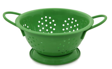 Green Colander On White