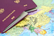 Reisepässe auf Asien