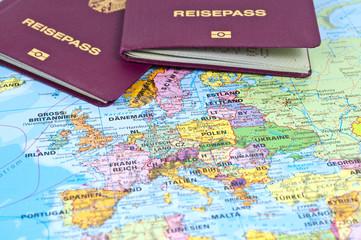Reisepässe auf Europa
