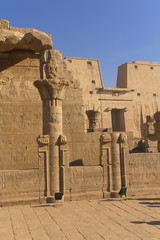 General view of the temple of Horus (Edfu, Egypt). Vertically.