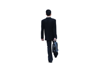 Businessman walking isolated on white