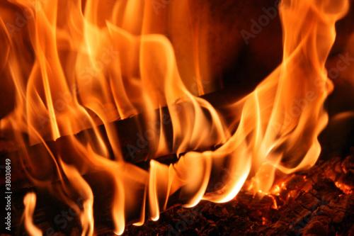 Staande foto Vuur / Vlam Kaminfeuer