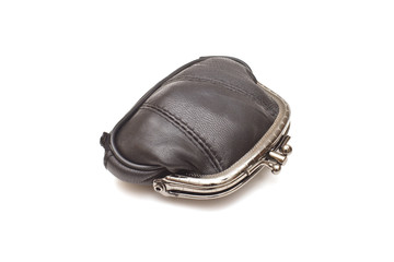 Black leather purse on white background