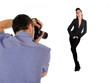 professional male photographer at studio fashion shot model