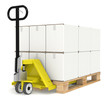 Pallet Truck/Jack and a Pallet With Cardboard Boxes.