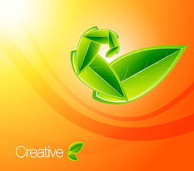 Vector nature leaf concept on orange background. Eps10 illustrat