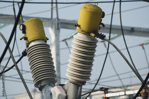 High-voltage wires and transformers