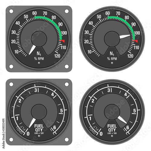 Aircraft indicators 3 - 480B dashboard set