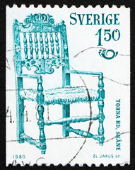 Postage stamp Sweden 1980 Chair from 1831, Scania