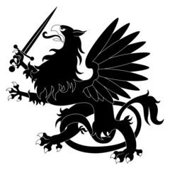 Black heraldic griffin with sword