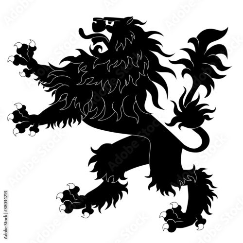 Black heraldic lion on white background