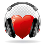 Heart with headphones